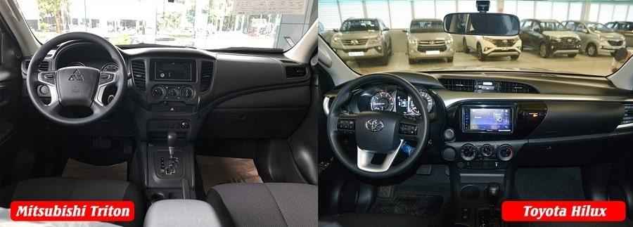 So sánh nội thất xe Hilux bản E số tự động và Triton 1 cầu tự động