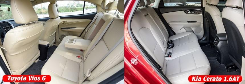 So sánh nội thất xe Toyota Vios G và Kia Cerato bản 1.6 Luxury