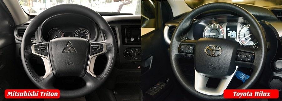 So sánh vô lăng xe Hilux bản E 1 cầu tự động và Triton 1 cầu tự động