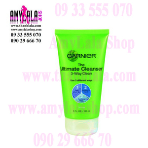 Sữa rửa mặt/mặt nạ 3trong1 cao cấp Garnier The Ultimate Cleanser 3-Way Clean 150ml - 0933555070 :