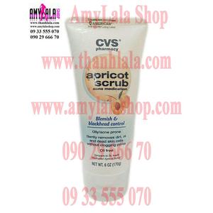Tắm rửa mặt 2in1 trắng da trị mụn CVS Apricot Scrub Blemish & Blackhead Control - 0933555070 -