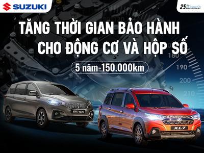 Tăng thời gian bảo hành cho cụm động cơ và hộp số của các dòng xe Du Lịch Suzuki