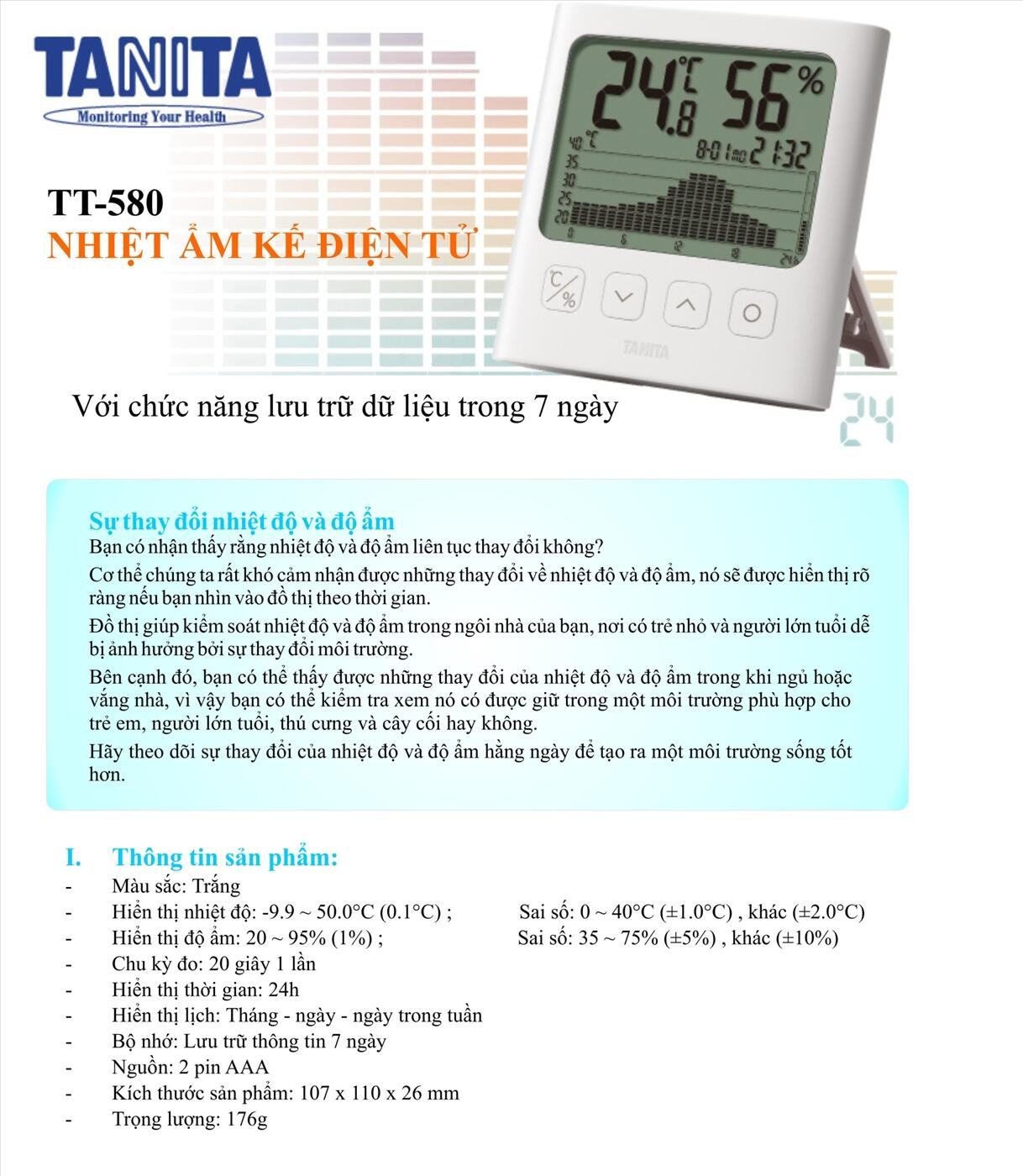 Nhiệt ẩm kế tự ghi Tanita TT-580