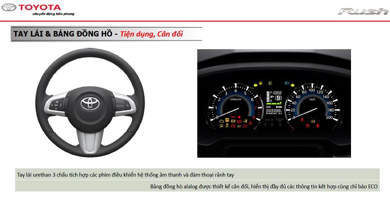 Tay lái và bảng đồng hồ trên xe Toyota Rush 2021