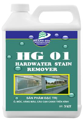 Tẩy cáu cặn canxi, nước cứng, loang trắng, bảy màu trên kính HG-01 HARDWATER STAIN REMOVE 5000ML