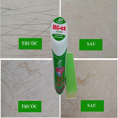Tẩy vết ố den trầy xước trên sàn đá bóng kính, ceramic, đá bằng bột tẩy HG02 STAIN HANDWATER REMOVE