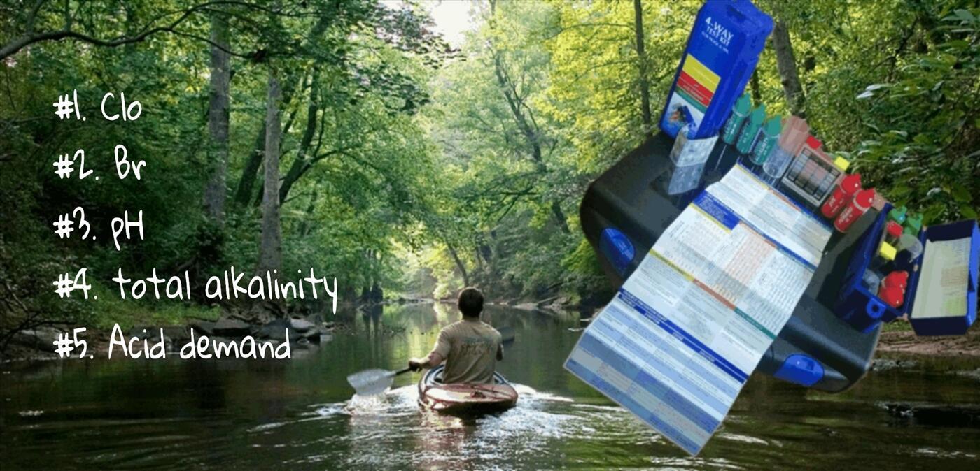 Test kit 5-in-1: đo Clo/Brom/pH/nhu cầu axit/độ kiềm toàn phần trong nước