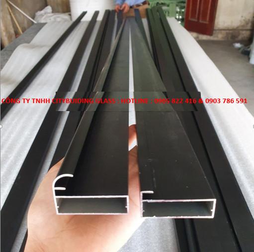 Thanh Nhôm Cánh Kính 20 X 45mm màu đen mờ
