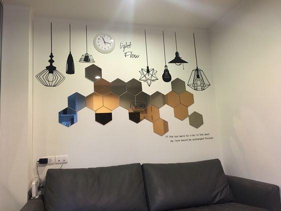 Gương lục giác xếp hình trang trí nội thất