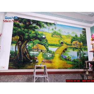 Thi công tranh gạch 3D Đồng Quê chú Vân Gò Dầu Tân Phú