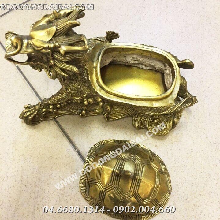 Rùa đầu rồng mở nắp trên lưng dài 16cm bằng đồng