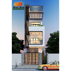 Thiết kế nhà phố 1 trệt 3 lầu gia đình anh Vĩnh chị Mây đường Võ Văn Kiệt, Quận 6
