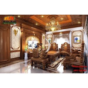 Thiết kế thi công nội thất biệt thự cổ điển bằng gỗ gõ gia đình chị Lan Bình Tân