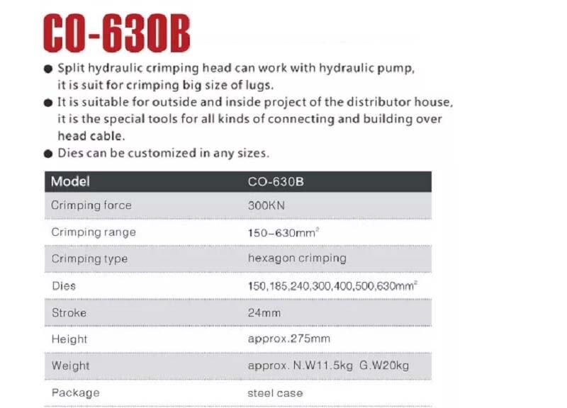 Thông số kỹ thuật: Đầu bấm cos CO-400B