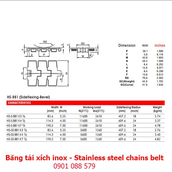 Thông số kỹ thuật: Băng tải xích Inox dòng 881 (Stainless steel chains belt)