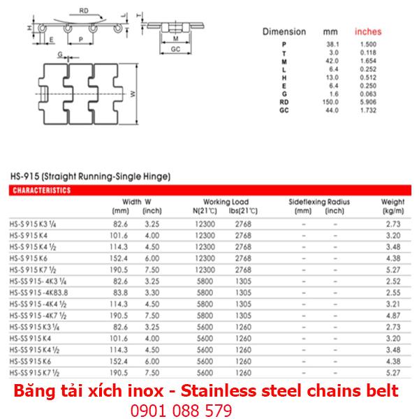 Thông số kỹ thuật: Băng tải xích Inox dòng 915 (Stainless steel chains belt)
