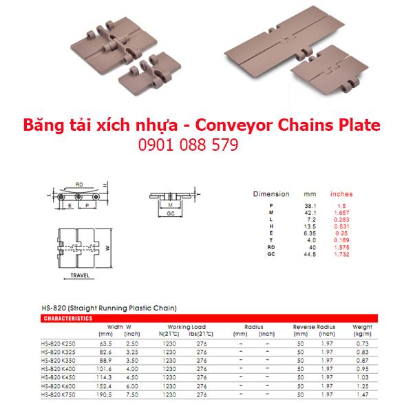 Thông số kỹ thuật: Băng tải xích nhựa dòng 820 (Conveyor Chains Plate)
