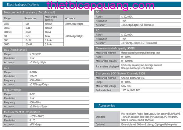 Thông số kỹ thuật máy đo chất lượng ắc quy giá rẻ