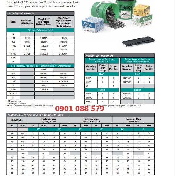 thông số kỹ thuật Bản lề móc nối băng tải từ 11mm đến 17mm 1-1/2E Flexco (Mỹ)