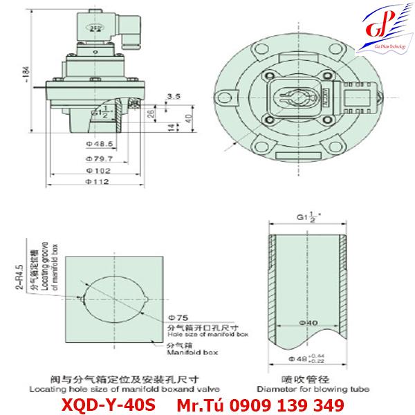 thông số kỹ thuật Van giũ bụi XQD-Y-40S