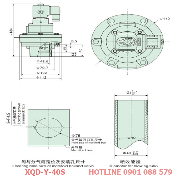 thông số kỹ thuật Van giũ bụi XQD-y-40s loại khớp nối ren