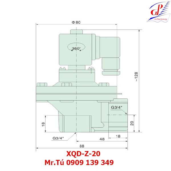 thông số kỹ thuật Van giũ bụi XQD-Z-20 khớp nối ren