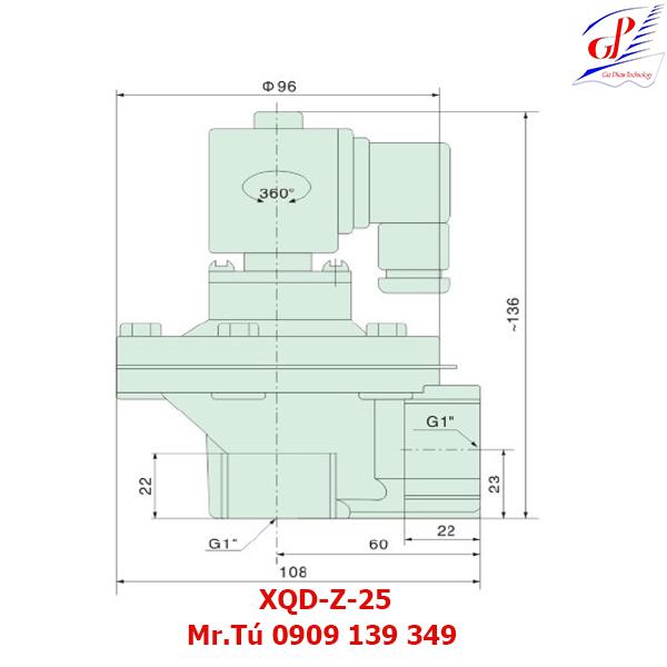 thông số kỹ thuật Van giũ bụi XQD-Z-25 khớp nối ren