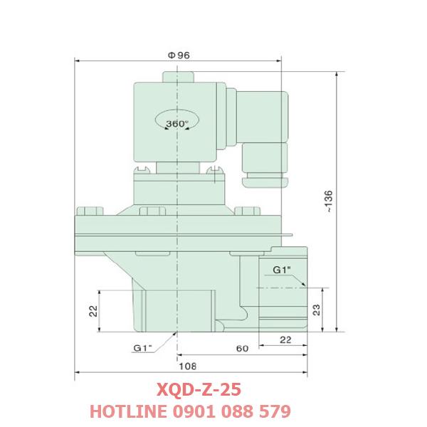 thông số kỹ thuật Van giũ bụi XQD-Z-25 loại khớp nối ren