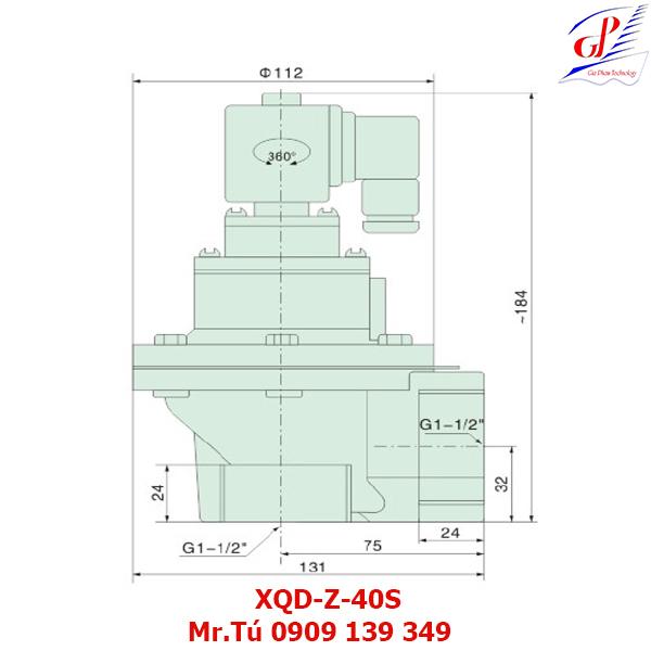 thông số kỹ thuật Van giũ bụi XQD-Z-40S khớp nối ren
