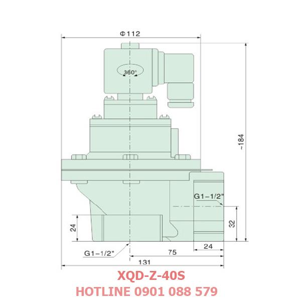 thông số kỹ thuật Van giũ bụi XQD-Z-40s loại khớp nối ren