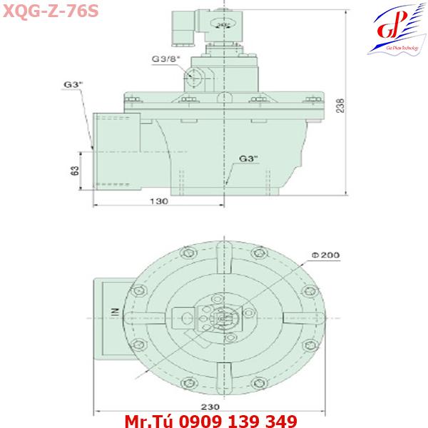 thông số kỹ thuật Van giũ bụi XQD-Z-76S khớp ren