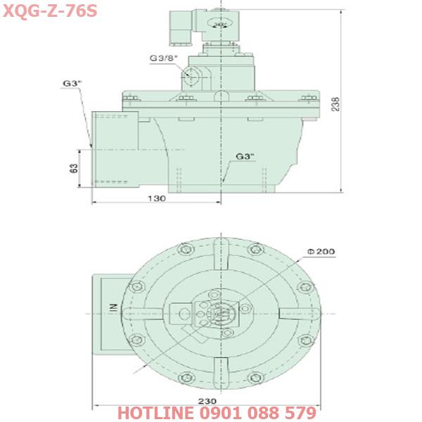 thông số kỹ thuật Van giũ bụi XQg-Z-76s loại khớp nối ren