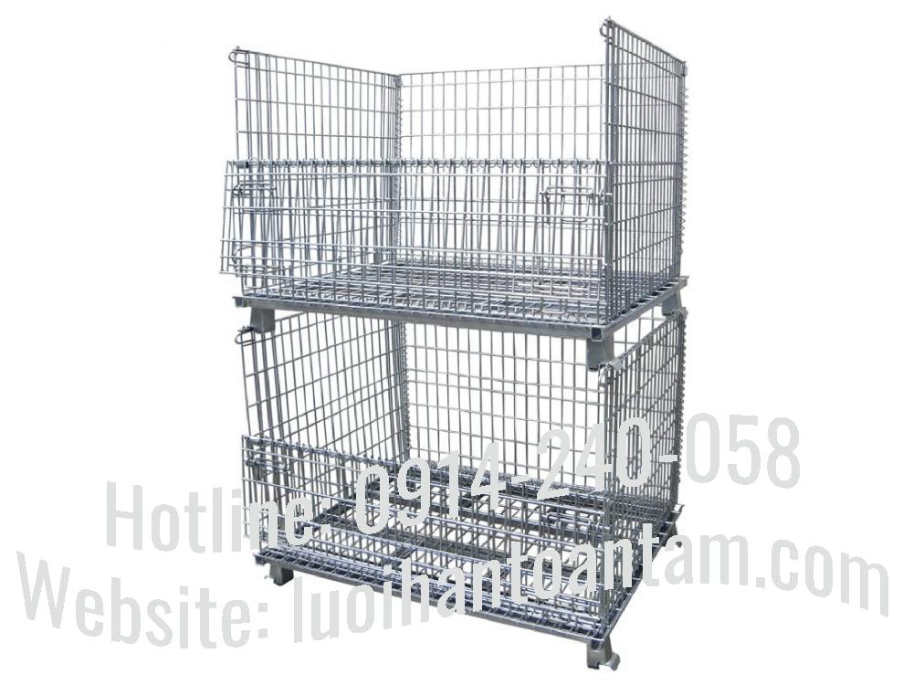 Lồng lưới thép gấp gọn xếp chồng