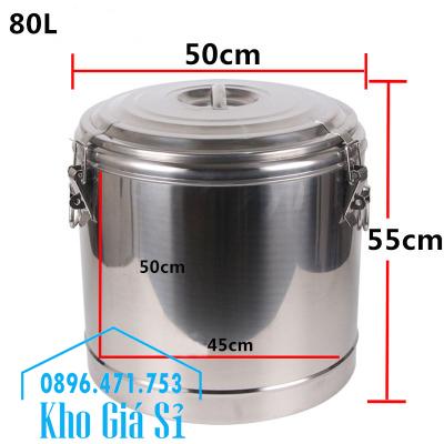 Thùng inox 2 lớp cách nhiệt có nắp đậy kín dung tích 80 lít đựng thực phẩm