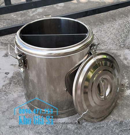 Thùng inox cách nhiệt 2 ngăn đựng thức ăn nấu chín có nắp đậy kín