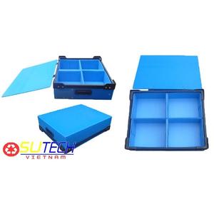 Thùng nhựa danpla màu xanh, vách ngăn