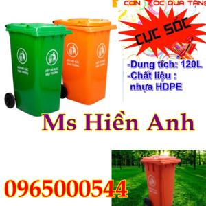 Thùng rác 120 lít màu cam khuyến mãi vàng giá rẻ