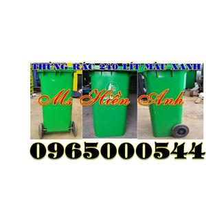 Thùng rác 240 lít màu xanh giá rẻ chất lượng nhập khẩu