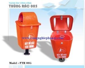 Thùng rác 55L Composite chân sắt