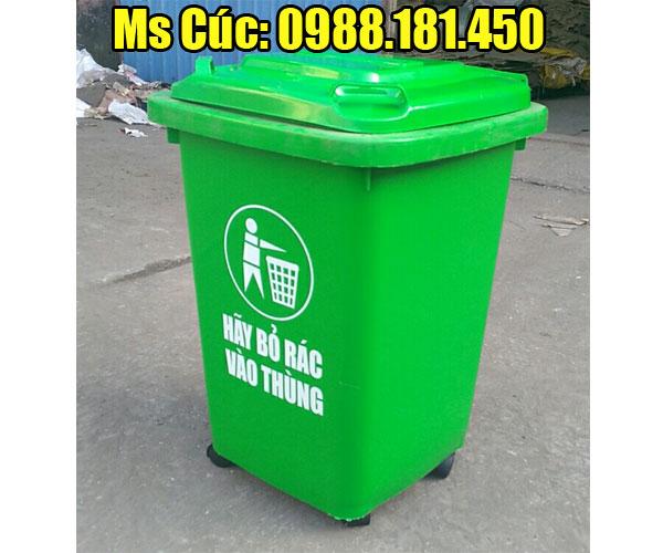 Thùng rác 60 lít màu xanh 4 bánh xe nhựa HDPE