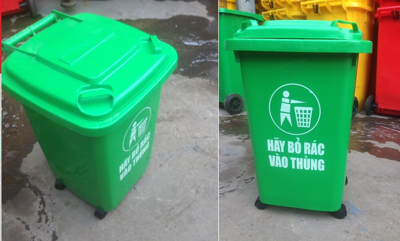 thùng đựng rác , thùng 60 lít , xe chứa rác , thùng rác màu xanh