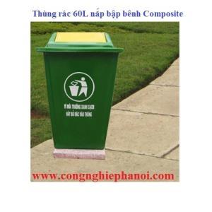 Thùng rác 60l nắp bập bênh Composite