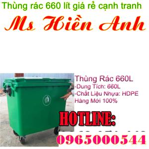 Thùng rác 660L HDPE