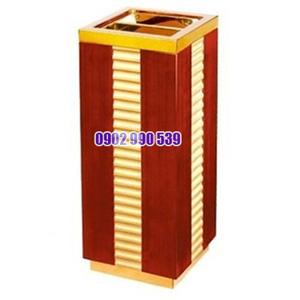 Thùng rác bằng gỗ có gạt tàn thuốc cao cấp