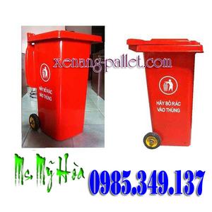 Siêu giảm giá Thùng rác công cộng 120 lít, thùng rác 240 lít màu đỏ