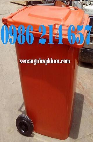 Thùng rác công cộng 120L màu cam