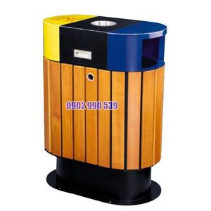 Thùng rác gỗ ngoài trời phân loại rác thải