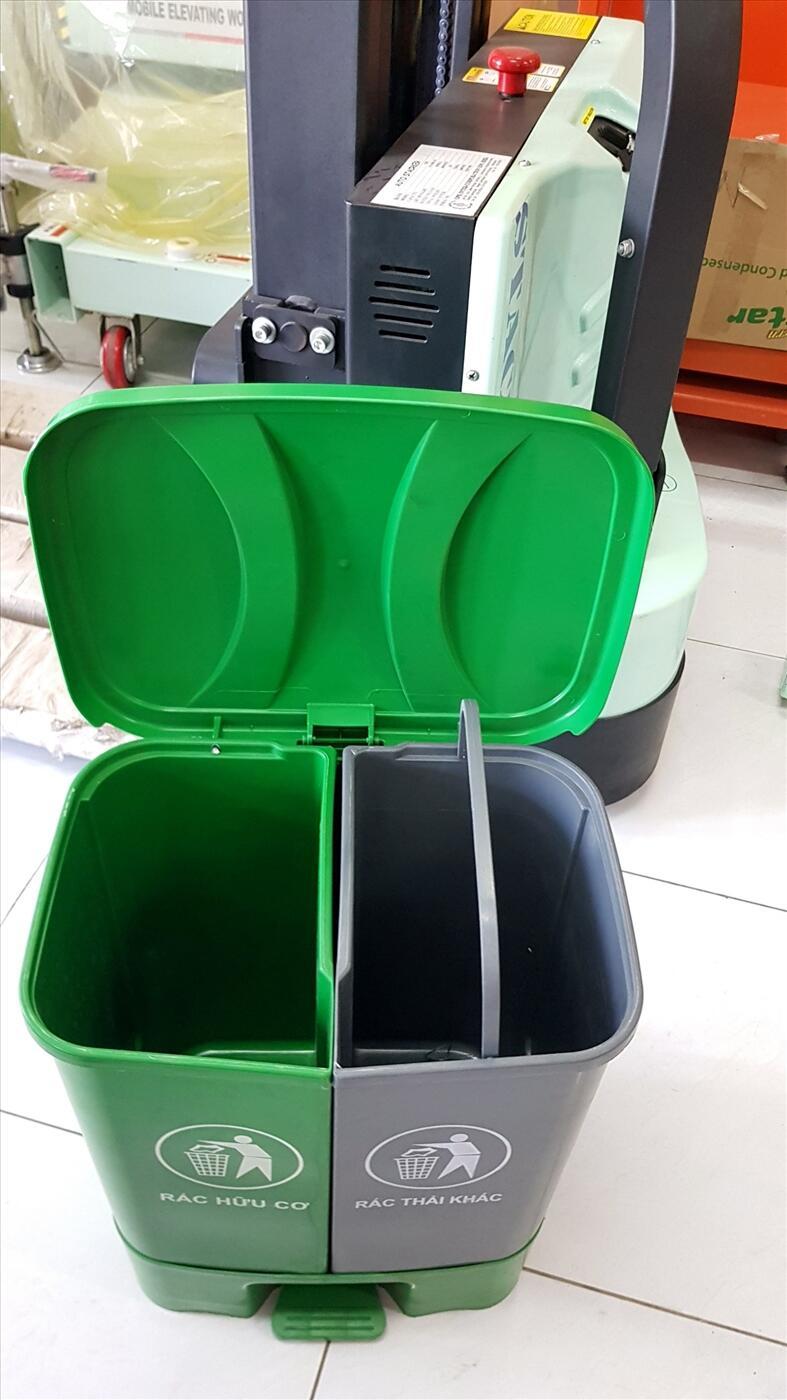 thùng rác nhựa 2 ngăn, thùng rác hộ gia đình, thùng rác 40l, thùng rác nhựa,