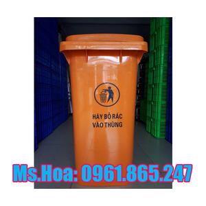 Thùng rác màu cam 120 lít 240 lít tại Hà Nội và Sài Gòn