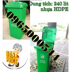 Thùng rác nhựa 240 lít, thùng rác công cộng nhập khẩu